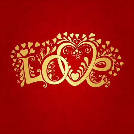 day saint valentin: Love hand lettering. Valentines day card, vector illustration