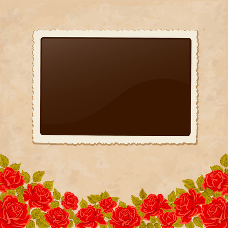 photoframe: Page of photo album. Vintage background with old paper, photoframe, and red roses. Perfect for your holiday layout. Just insert your pics.