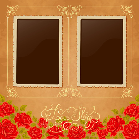 pics: Page of photo album. Vintage background with old paper, photoframe, and red roses. Perfect for your holiday layout. Just insert your pics.