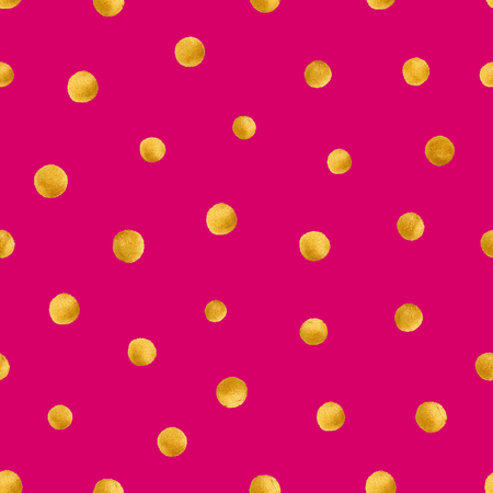 Seamless pattern with hand painted gold circles. Gold polka dot pattern. Vector