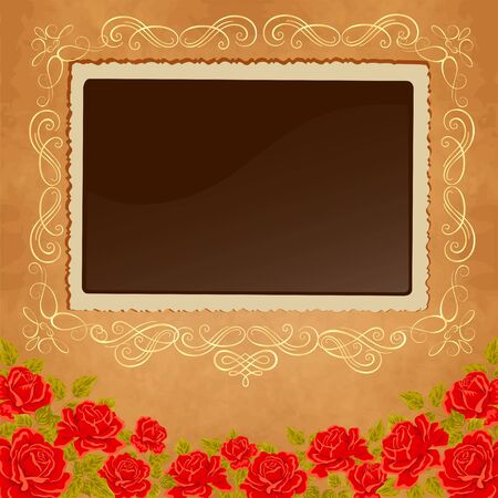 photoframe: Page of photo album. Vintage background with old paper, photoframe, and red roses.