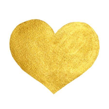 Hart van de liefde Gold waterverftextuur Paint Stain. Golden design element. Vector Stock Illustratie