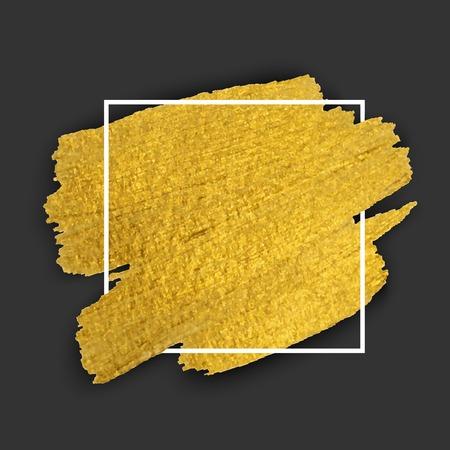 Vector gouden verf penseelstreek met grenskader