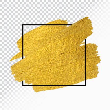 Vector gold paint brush stroke with border frame