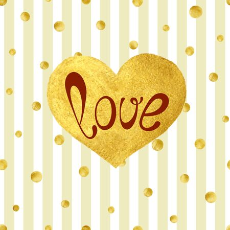 love gold: Heart Love Gold Watercolor Texture Paint Stain. Golden design element. Gold confetti seamless pattern on stripe background