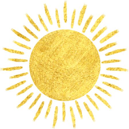 Goldene Sonne Symbol auf weißen Hintergrund isoliert