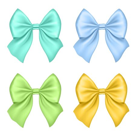 holiday invitation: Set of Silk Bow. Illustration. olorful bows for Gift Design, Invitation Decorative Cards, Voucher Design, Holiday Invitation Design.