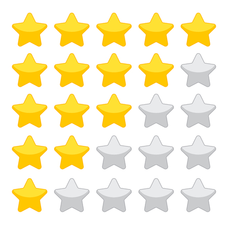 Gold rating stars on white background Illustration