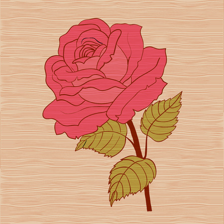 Red rose cartoon style on wooden background Illustration