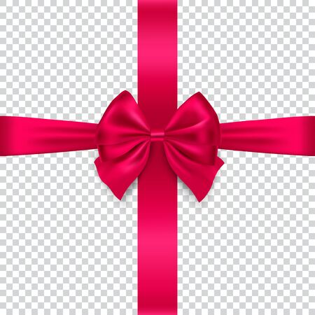 Red Silk  bow and ribbon isolated on transparent background