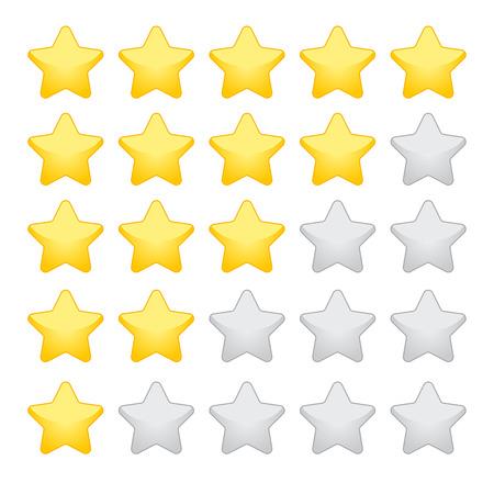 gold rating stars on white background