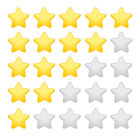gold rating stars on white background
