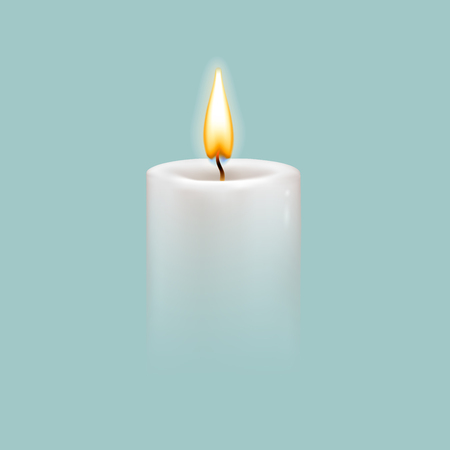 Round cylindrical candle with burning flames. Vector realistic illustration