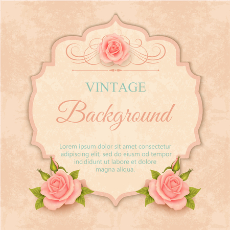 biege: Beautiful design of greeting card, invitation with roses. Vintage background Illustration