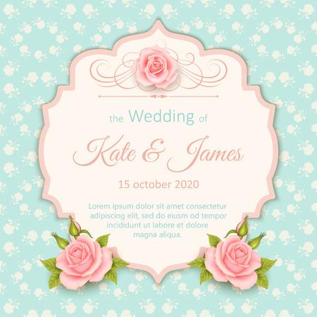 Beautiful Design Wedding Invitation With Roses Vintage