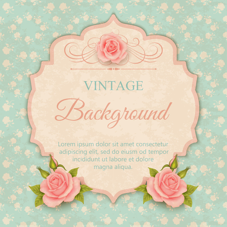biege: Beautiful design of greeting card, invitation with roses. Vintage background Stock Photo