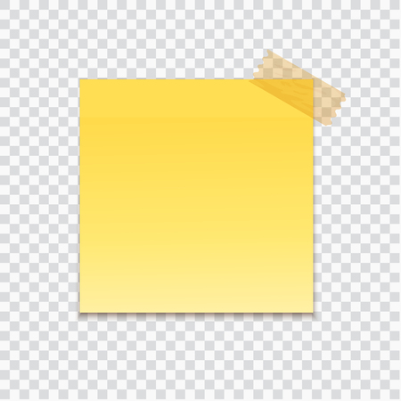Yellow stick note on transparent texture background. Vector illustration. Ilustracja