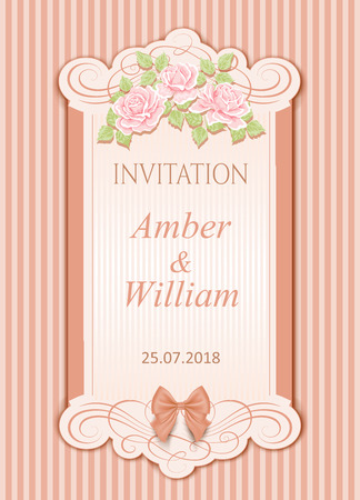 Vector vintage wedding invitation with roses Çizim