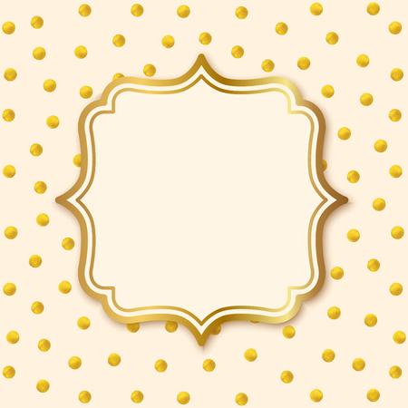 Greeting Card with Label. Hand painted gold circles. Gold polka dot pattern