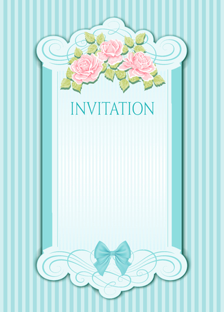 Beautiful design of wedding invitation with flowers. Vintage background Çizim