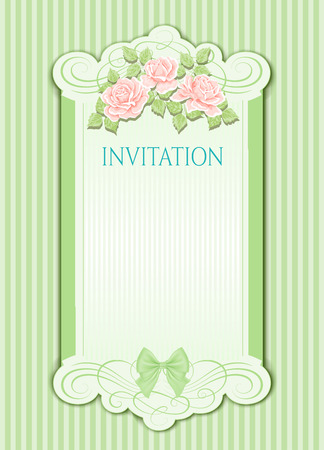 Beautiful design of wedding invitation with flowers. Vintage background Ilustracja