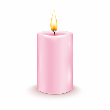 Round cylindrical candle with burning flames. Vector realistic illustration.