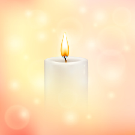 Vector blurry soft background with photographic bokeh. Romantic background with candle