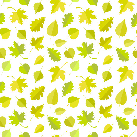 Seamless leaf pattern. Spring, summer vector background Çizim