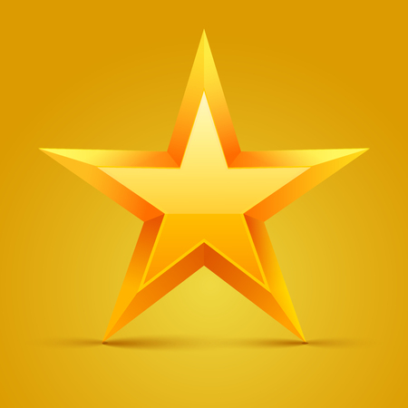 Yellow star. Vector illustration.
