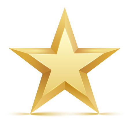 Gold star on white. Vector illustration. EPS 10