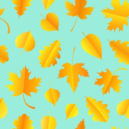 Vector seamless pattern with colorful autumn leaves. Autumn background Ilustracja