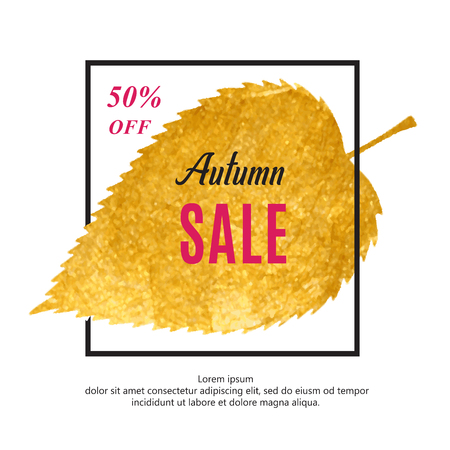 Autumn sale banner with black frame and gold leaf. Çizim