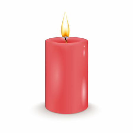 Round cylindrical red candle with burning flames. Vector realistic illustration.
