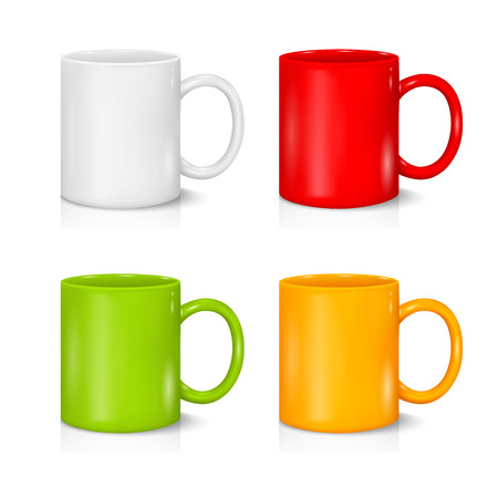 Set of colored mugs on the white background
