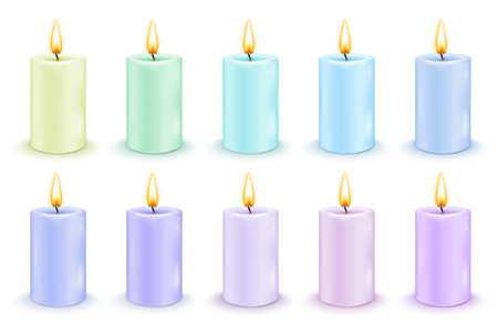 Set of color cylindrical candles with burning flames. Vector realistic illustration.