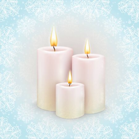 Winter background, the three burning candles, snowflake pattern
