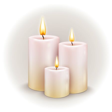 The three burning candles. Vector illustration