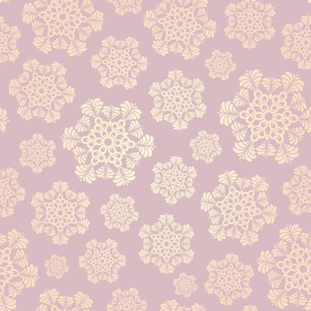 Seamless winter pattern with snowflakes. Vector Çizim