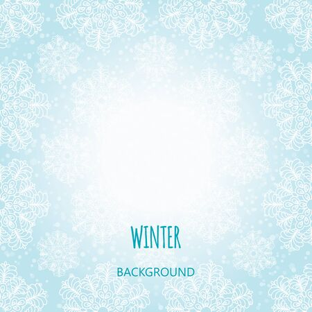 Winter background with snowflakes. Vector Çizim