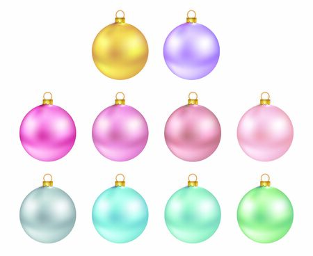 Illustration Christmas multicolor balls isolated on white background - vector