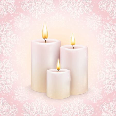 Winter background, the three burning candles