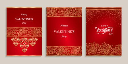 Happy Valentines Day cards set. Holiday design for greeting cards, gift voucher, invitation.
