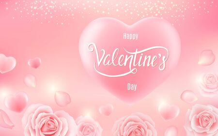 Valentines day card, sale, poster, card, label, banner design. Vector illustration Çizim