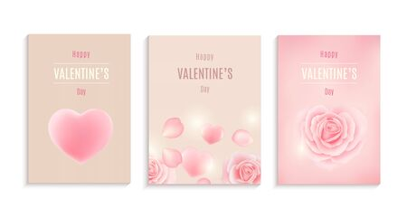 Collection of Valentines day card, flyer templates. Label, banner design set. Çizim