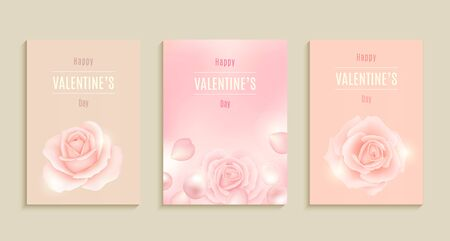 Collection of Valentines day card, sale, poster, card, label, banner design set. Vector illustration