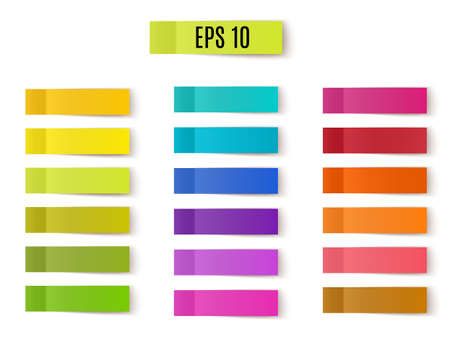 Vector multicolored set of sticky notes on white background 矢量图像