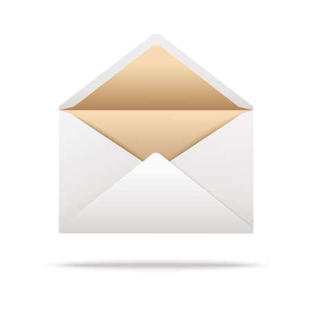White opened envelope isolated on white. Vector illustration