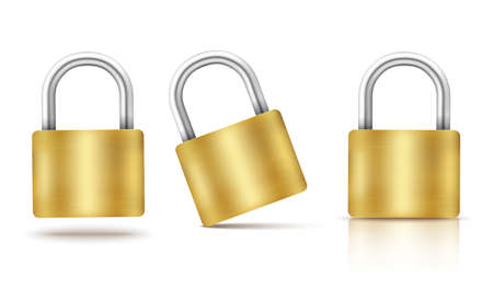 Vector locked padlock gold isolated 向量圖像