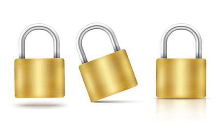 Vector locked padlock gold isolated Illusztráció