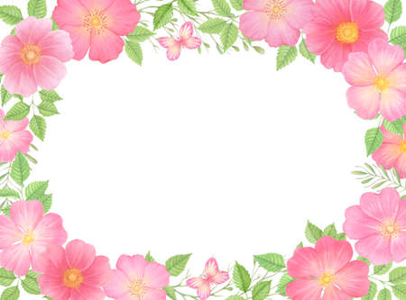 Wild rose flowers card template. Floral rectangular border frame. 免版税图像